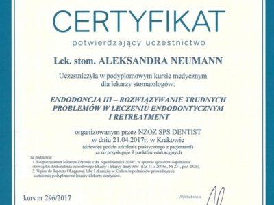 <span>lek. stom. Aleksandra Neumann</span> Aleksandra Neuman certyfikaty 3