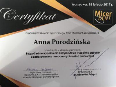 <span>lek. dent. Anna Porodzińska</span> Anna Porodzińska certyfikaty 2