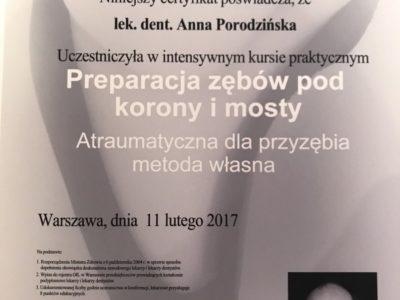 <span>lek. dent. Anna Porodzińska</span> Anna Porodzińska certyfikaty 3
