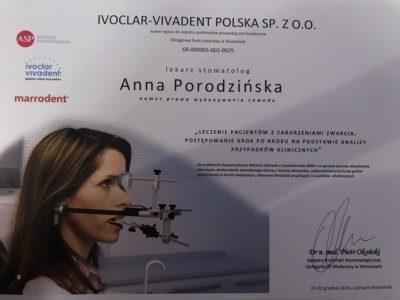 <span>lek. dent. Anna Porodzińska</span> Anna Porodzińska certyfikaty 4