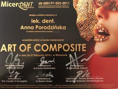 <span>lek. dent. Anna Porodzińska</span> Anna Porodzińska certyfikaty 5