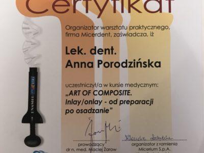 <span>lek. dent. Anna Porodzińska</span> Anna Porodzińska certyfikaty 8