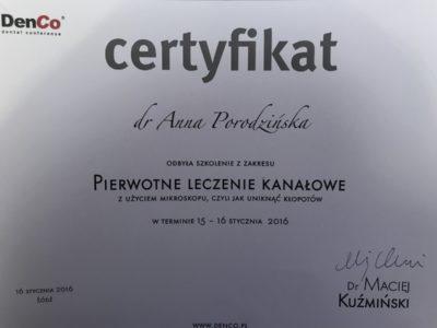 <span>lek. dent. Anna Porodzińska</span> Anna Porodzińska certyfikaty 9