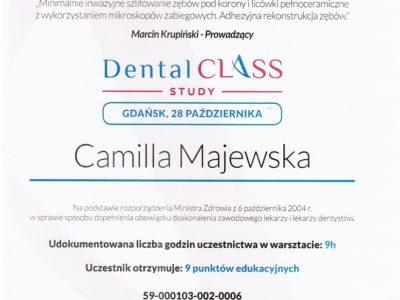 <span>lek. stom. Camilla Majewska</span> Camilla Majewska certyfikaty 3