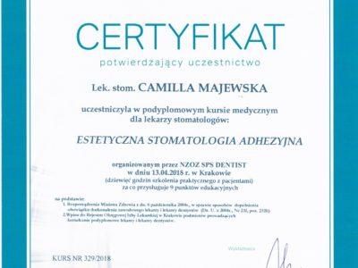 <span>lek. stom. Camilla Majewska</span> Camilla Majewska certyfikaty 4
