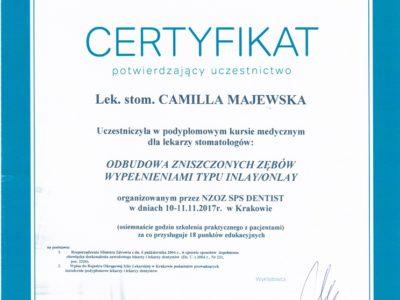 <span>lek. stom. Camilla Majewska</span> Camilla Majewska certyfikaty 5