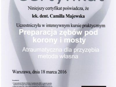 <span>lek. stom. Camilla Majewska</span> Camilla Majewska certyfikaty 6