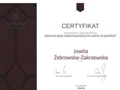 <span>lek. stom. Jowita Żebrowska-Zakrzewska</span><br/><small>właściciel</small> Jowita Żebrowska Zakrzewska certyfikaty 1