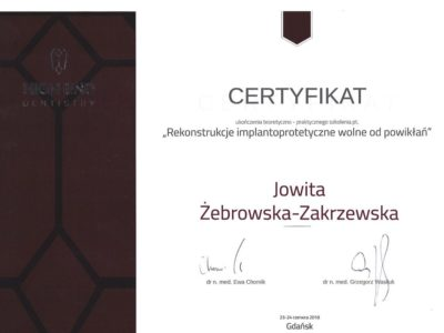 <span>lek. dent. Jowita Żebrowska-Zakrzewska</span><br/><small>właściciel</small> Jowita Żebrowska Zakrzewska certyfikaty 1