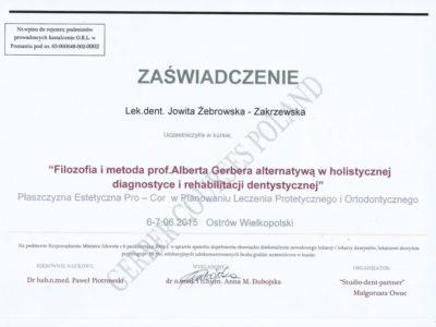 <span>lek. dent. Jowita Żebrowska-Zakrzewska</span><br/><small>właściciel</small> Jowita Żebrowska Zakrzewska certyfikaty 10