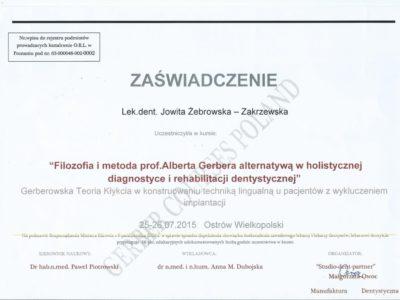 <span>lek. dent. Jowita Żebrowska-Zakrzewska</span><br/><small>właściciel</small> Jowita Żebrowska Zakrzewska certyfikaty 11