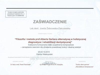 <span>lek. dent. Jowita Żebrowska-Zakrzewska</span><br/><small>właściciel</small> Jowita Żebrowska Zakrzewska certyfikaty 12