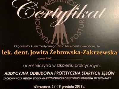 <span>lek. stom. Jowita Żebrowska-Zakrzewska</span><br/><small>właściciel</small> Jowita Żebrowska Zakrzewska certyfikaty 2