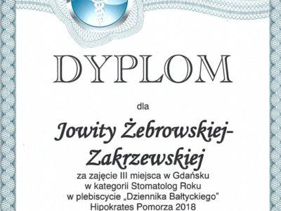 <span>lek. dent. Jowita Żebrowska-Zakrzewska</span><br/><small>właściciel</small> Jowita Żebrowska Zakrzewska certyfikaty 4