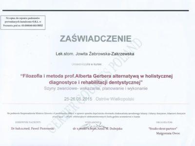 <span>lek. stom. Jowita Żebrowska-Zakrzewska</span><br/><small>właściciel</small> Jowita Żebrowska Zakrzewska certyfikaty 6