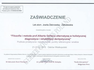 <span>lek. stom. Jowita Żebrowska-Zakrzewska</span><br/><small>właściciel</small> Jowita Żebrowska Zakrzewska certyfikaty 7