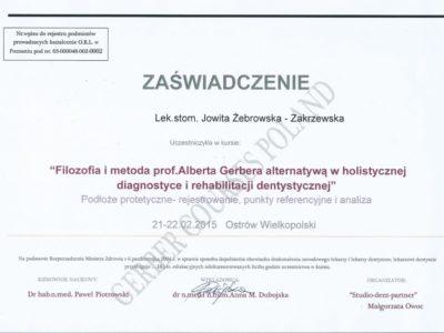 <span>lek. dent. Jowita Żebrowska-Zakrzewska</span><br/><small>właściciel</small> Jowita Żebrowska Zakrzewska certyfikaty 7