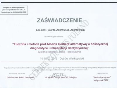 <span>lek. dent. Jowita Żebrowska-Zakrzewska</span><br/><small>właściciel</small> Jowita Żebrowska Zakrzewska certyfikaty 8