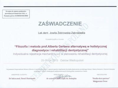 <span>lek. stom. Jowita Żebrowska-Zakrzewska</span><br/><small>właściciel</small> Jowita Żebrowska Zakrzewska certyfikaty 9
