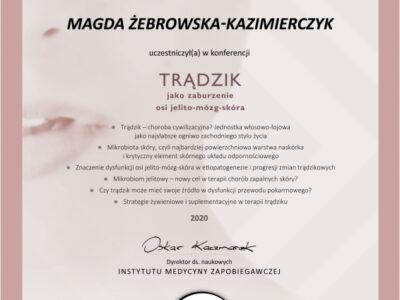 <span>mgr dyp. hig. Magdalena Żebrowska–Kazimierczyk</span> Magdalena Żebrowska certyfikat00