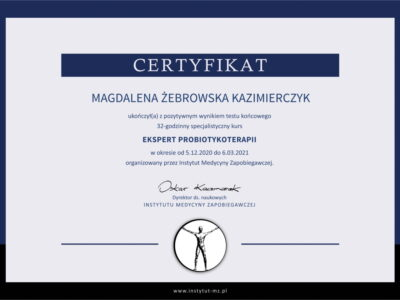 <span>mgr dyp. hig. Magdalena Żebrowska–Kazimierczyk</span> Magdalena Zebrowska Kazimierczyk certyfikat probioterapii