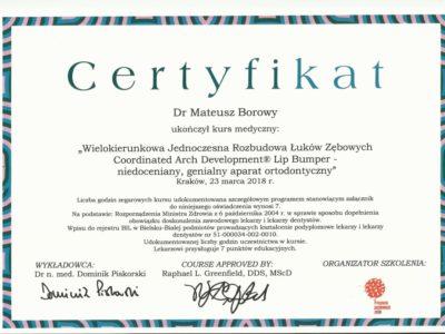 <span>lek. dent. Mateusz Borowy</span> Mateusz Borowy certyfikaty 1