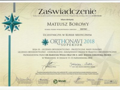 <span>lek. dent. Mateusz Borowy</span> Mateusz Borowy certyfikaty 16