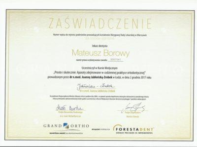 <span>lek. dent. Mateusz Borowy</span> Mateusz Borowy certyfikaty 2