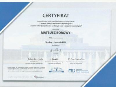 <span>lek. dent. Mateusz Borowy</span> Mateusz Borowy certyfikaty 3