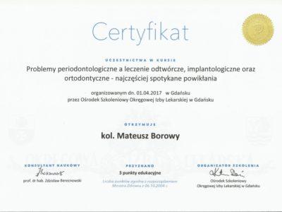 <span>lek. dent. Mateusz Borowy</span> Mateusz Borowy certyfikaty 4