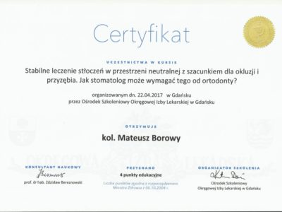 <span>lek. dent. Mateusz Borowy</span> Mateusz Borowy certyfikaty 5