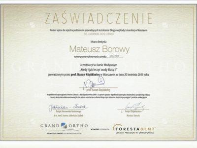 <span>lek. dent. Mateusz Borowy</span> Mateusz Borowy certyfikaty 8