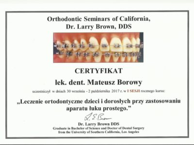 <span>lek. dent. Mateusz Borowy</span> Mateusz Borowy certyfikaty 9