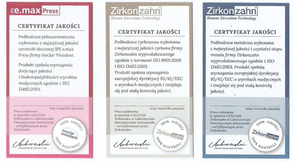 Estetyka cyrkonu ZirconZahn® certyfikaty