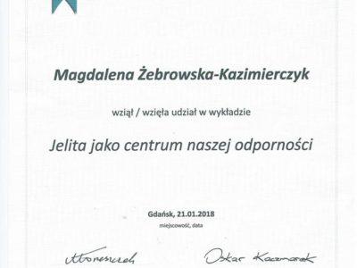 <span>mgr dyp. hig. Magdalena Żebrowska–Kazimierczyk</span> jelita szkolenie