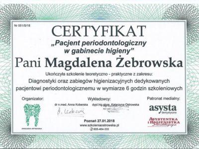 <span>mgr dyp. hig. Magdalena Żebrowska–Kazimierczyk</span> periodontologia szkolenie